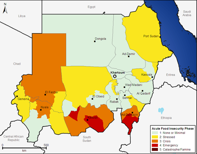 Map of Acute Food Insecurity in Sudan, showing high risk in Southern Kordofan and Blue Nile, where conflict has broken out.